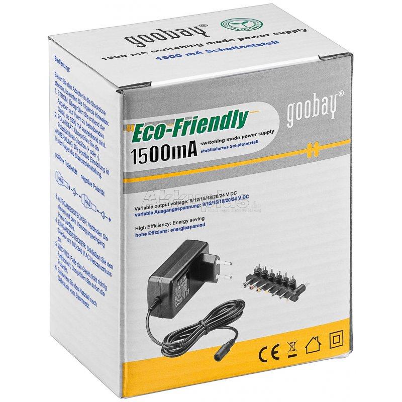 goobay nts 1500 9 bis 24 v universal netzteil inkl 8 dc adaptern. Black Bedroom Furniture Sets. Home Design Ideas
