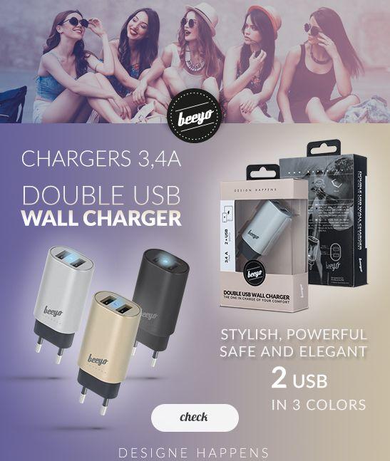 Beeyo - Micro-USB Ladeger�t - mit 2-USB-Ports
